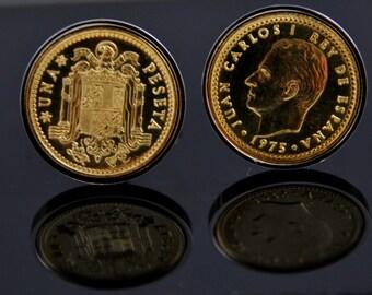Spain Coin Cufflinks- Spanish Peseta Cufflinks-Genuine Coins