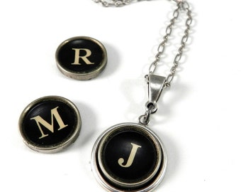 Typewriter Initial Neckace - Choose Your Letter - Custom Letter - in Silver