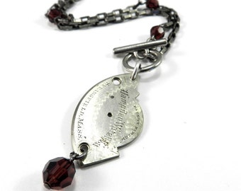 STEAMPUNK Jewelry Pocket Watch Necklace HAMPDEN Silver 1880s Style ASYMMETRICAL Burgundy Crystal - Steampunk Jewelry by Compass Rose Design