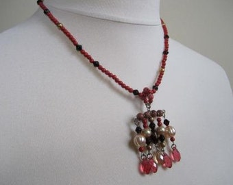 SALE Renaissance Necklace Elizabethan Red Goldstone Sterling Clasp  - 20 inches