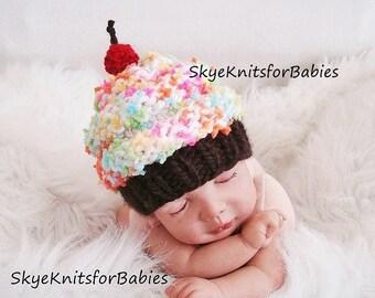 Newborn photo prop, Newborn hat, Newborn boy, Newborn Girl, Knit Newborn Cupcake hat, Newborn prop, Newborn props, Baby Cupcake Hats