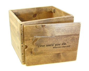 Side table rustic wooden end table wood crate furniture for Wooden crate bedside table