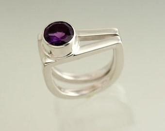 Amethyst Contemporary Sterling Silver 2 Stirup Ring, February birthstone Silver Ring, Modern Amethyst and Silver Ring, Graduation or Wedding
