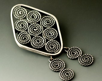 Sterling Silver Swirls and Spirals Brooch, One of a Kind, Ready to Ship