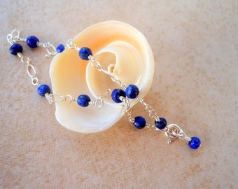 Lapis Lazuli Bracelet Wire Wrapped Sterling Silver Chain