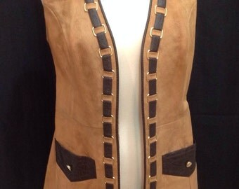 Vintage Retro Women's VEST Genuine Suede Leather Trimmed Size 12 By GINA TERESO
