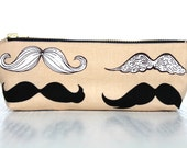 Brown mustaches zippered pouch,make up purse,pencil case
