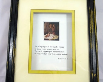 Vintage Picture Bible Verse Print Wood Frame Psalms 91:11-12 Angels Guarding Sleeping Child Black Yellow Framed Child's Room 12 x 10 inch
