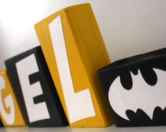 PERSONALIZED LETTER BLOCKS - Batman logo - Superhero Birthday Party Centerpiece - Nursery Decor - Robin Decoration Sign