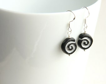 Summer Party Simple Modern Earrings Gift for her Spiral Earrings Artisan Glass Earrings Geometric Earrings Black Silver Minimal Earrings