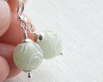 Summer Party Light Green Jade Earrings Carved Stone Sterling Silver Earrings Romantic Lace Pattern Simple and Elegant - Dangle Earrings