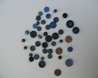Vintage Blue Button Lot
