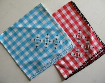 Vintage Gingham Cloth Napkin Handkerchief Set of Two Blue Red Embroidered Western Picnic Linen