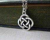 Celtic Knot Necklace - Antiqued Silver Pewter Celtic Know Charm Necklace Silver Chain