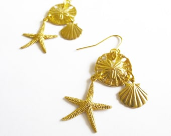 Gold Mermaid Earrings Seashell Charm Jewelry Sea Shell Starfish Sand Dollar Nautical Ariel Accessories Beach Weddings Womens Gift For Her