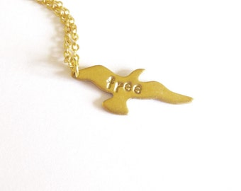 Gold Bird Necklace Free Spirit Jewelry Small Charm Tiny Pendant Nature Lover Boho Bohemian Accessories Unique Girlfriend Womens Gift For Her