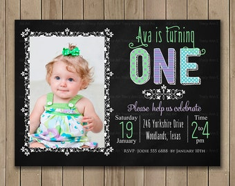 Photo First Birthday Invitation | 1st Birthday Invite | Printable Digital | 1st 2nd Birthday