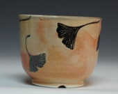Handmade small bowl with gingko leaves by Joy Imai