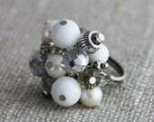 OUT OF TOWN - Cluster of Puirity - Adjustable Cluster Ring Pure White Dolomite Marble Freshwater Pearls Crystal Silver Neutral Cocktail Ring