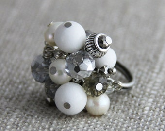 Cluster of Puirity - Adjustable Cluster Ring Pure White Dolomite Marble Freshwater Pearls Crystal Silver Neutral Cocktail Ring
