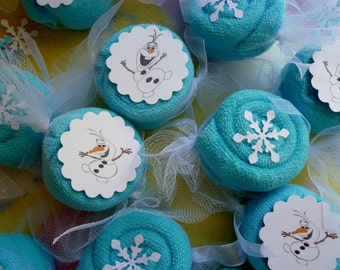 Frozen Theme Party Favors..Washcloth Candies Bundle of 10..Olaf..Elsa Snow Queen..Spa Party..Birthday..Free Snowflake Confetti :)