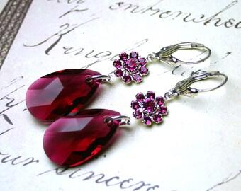 ON SALE - Long Ruby Teardrop Earrings -  Swarovski Crystal and Sterling Silver Earrings in Fuschia Pink - Sterling Silver Leverbacks