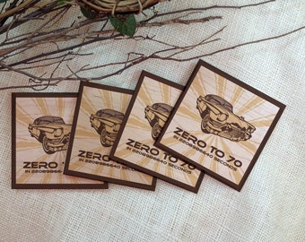 Coasters // Zero To 70 in 2208986640 Seconds // Set of 4 // Wood