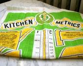 Vintage Linen Kitchen Metrics Measurement Conversions Tea Towel Bright Green and Yellow