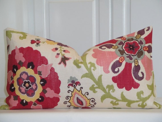 Beautiful Decorative Pillow Cover - 12x22, 12x20, 12x18 - Floral - Pink - Red - Green - Blue - Plum