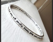 Heavy Sterling Silver Bangle - Personalized Inside and Outside - 14 font choices