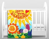 Fleece Baby Blanket - You Are My Sunshine Flowers - Kids Bedding - Crib Blanket - Nursery Decor