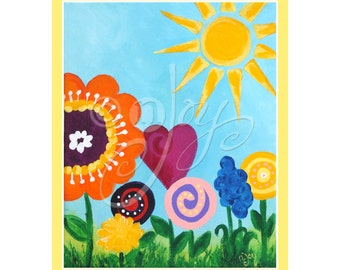 Girls nursery art print, SUNNY GARDEN, 8x10 inch giclee, children's decor, Art for kids