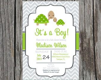Printed Turtle Baby shower invitation, turtles shower invitation, custom and printable, baby boy