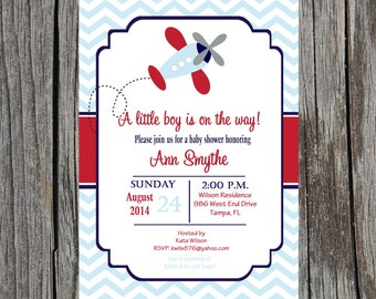 Printed Airplane Baby Shower Invitation, planes, airplane baby boy shower, DIY and printable