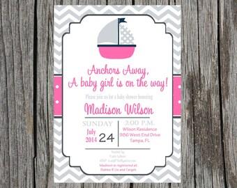 Nautical Baby Shower Invitation, sailboat, baby girl shower, boat baby shower, DIY, digital, printable