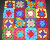 16 Crochet  Granny Square Blocks - Multicolored -