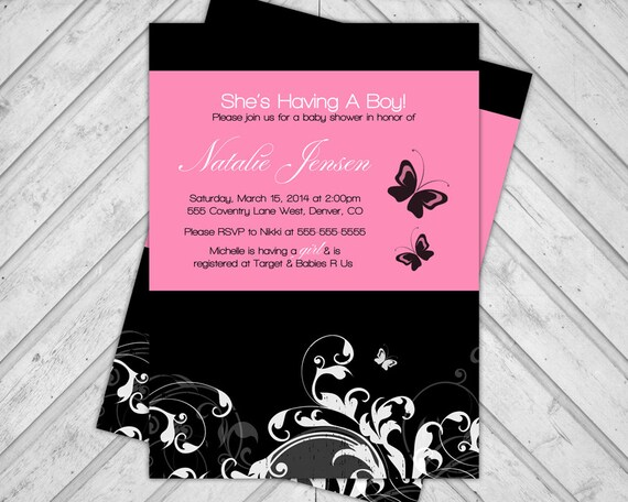 Butterfly Baby Shower Invitations for Girls, Pink and Black Baby Shower Invite, DIY Printable or Printed Cards (762)