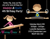 Gymnastic Birthday Invitation, Gymnast Party Invitations, Printable or Printed