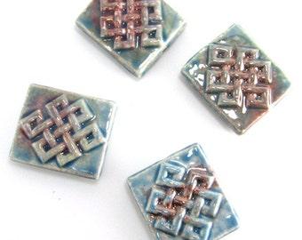 4 Raku Eternal Knot  Peruvian Ceramic Beads