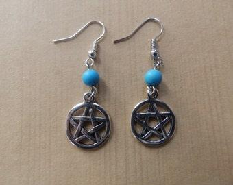 Protection Pentagram Earrings Wicca Pagan Hoodoo Ceremonies Ritual Spirituality Jewelry