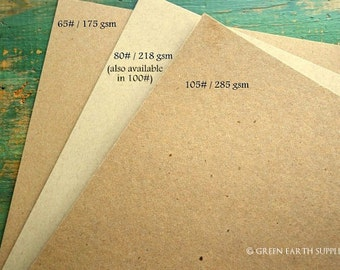 """100 sheets kraft cardstock: 8.5x11 eco card stock, recycled 8 1/2""""x11"""" (216x279mm) 65lb, 105lb, 146lb kraft brown or 80lb, 100lb light brown"""
