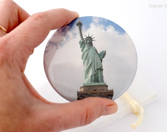"Statue of Liberty Pocket Mirror - Glass Compact Mirror - 3"" original photo - Lady Liberty Gift"