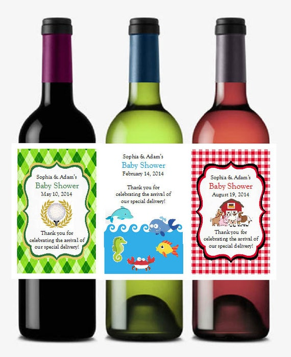 BABY SHOWER Wine Bottle Labels jungle sports by shadow090109
