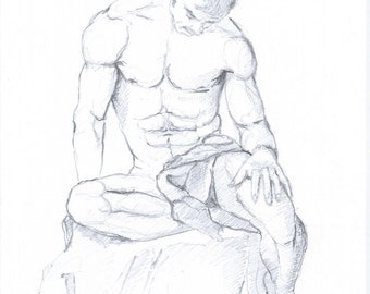 Original Male Nude Drawing Art A4 Signed Figurative Drawing
