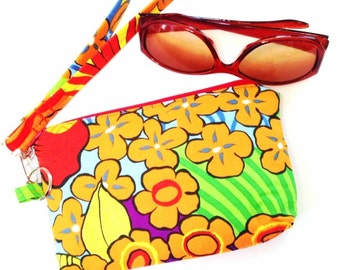 Wristlet, Clutch, Cell Phone Case, Tropical Flowers