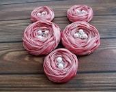 Dusty Pink Roses Handmade Appliques Embellishments(5 pcs)