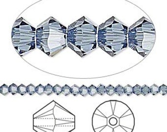 144pcs Swarovski Bicone Crystal Beads Denim Blue Faceted Austrian Crystals 3mm Xilion Model 5328