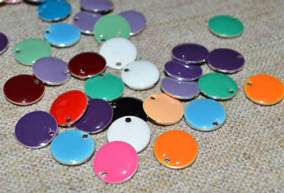 12pcs Charms Silver Plated Colored Epoxy 8mm Round Mixed Colors