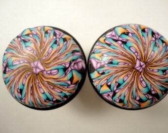 8 Polymer Clay  Swirl Cabinet Knobs/Pulls   13 AVAILABLE  Black,Beige, Lavender and Teal