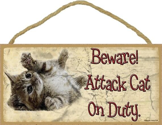 Beware Attack Cat On Duty 10 X 5 Kitty Cats Pet